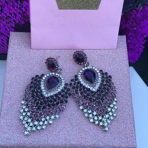 Purple Ombré Crystal Chandelier Earrings